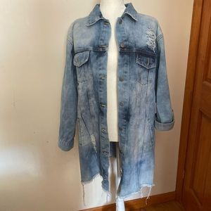 Acid wash longline distressed denim jacket